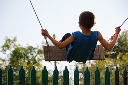 child rides on a swing against a blue sky
