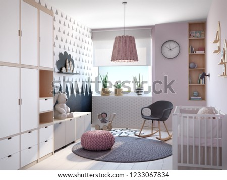 Child room interior in pink color with toy, light interior, 3d rendering, 3d illustration; 300 dpi