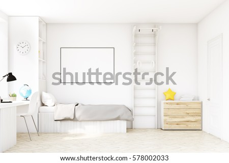 child room with a bed with gray ...