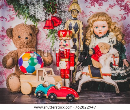 Child room with lot of old fashioned of beautiful toys.