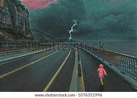 Child running on a huge bridge during thunderstorm - digital artwork