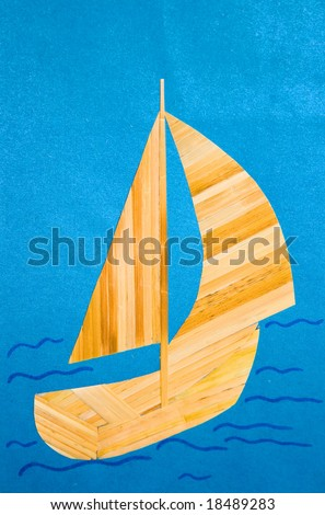 child's applique' work: sailing ship