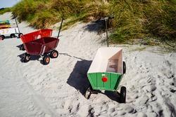 Child's beach handcart at the beach