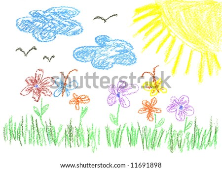 child's  bright drawing, summer sunny day.