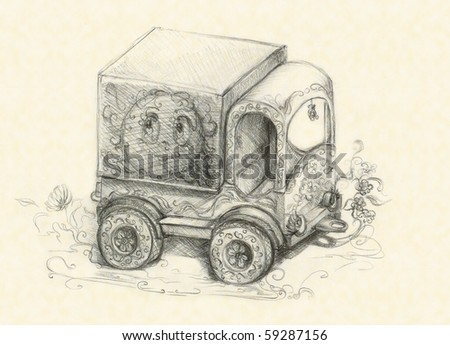 Child's car, picture by a pencil - stock photo