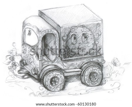 Child's car, picture by a pencil
