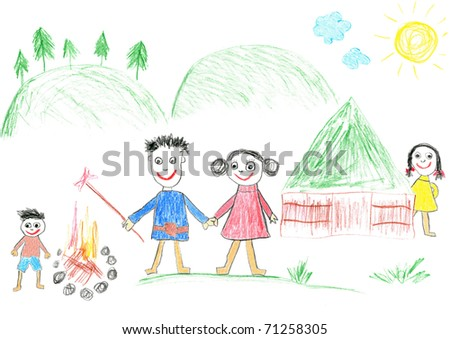 Child's drawing camping family. Father, mother,  son and daughter on holidays.