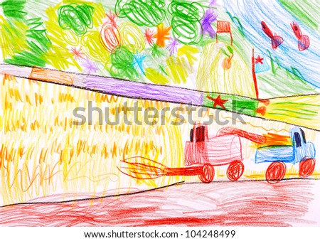 child's drawing. Combine harvesting a wheat and space rocket. - stock photo