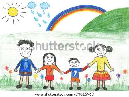 Child's drawing happy family and rainbow. Father, daughter, mother and son on the trip.