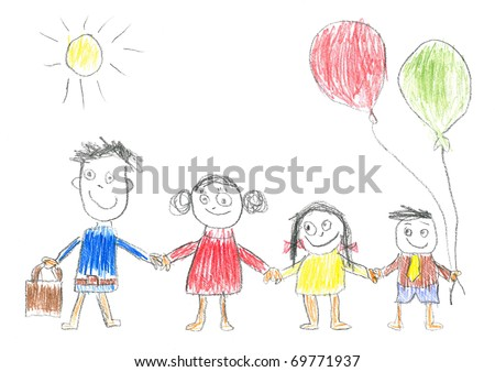 father and daughter holding hands drawing. stock photo : Child's drawing happy family. Father, mother, daughter and son