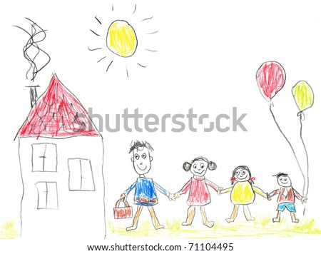 Child's drawing happy family. Father, mother, daughter, son and their home.
