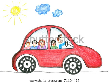 Child's drawing happy family on the car trip. Father, mother, two daughters and son.