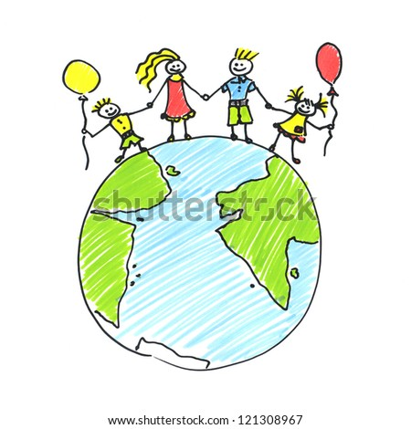 Child's drawing happy family on the planet  earth