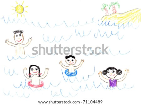 Child's drawing happy family swimming in sea. Father, mother, daughter and son on holidays.