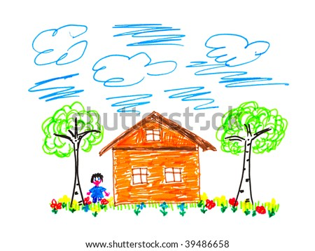 Child's drawing house isolated on white background