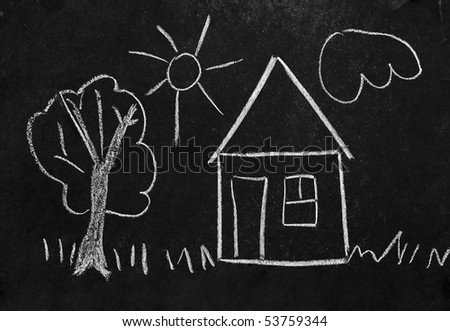 Child's drawing - house with trees, grass, sun and cloud