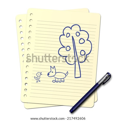 child\'s drawing in the blue pen : tree and animal