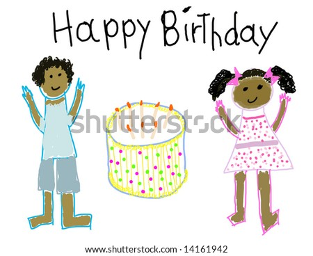 Child's drawing of a boy & girl with Happy Birthday