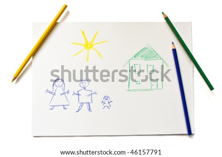 Child's drawing of a happy family over white background