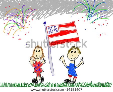 Child's drawing of American patriotism