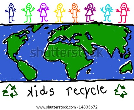 Child's drawing of diverse group of children promoting world wide recycling