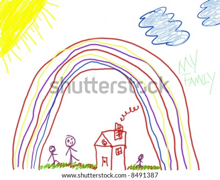 Child's Drawing of Family Life