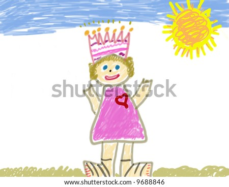 Child's drawing of herself as a princess