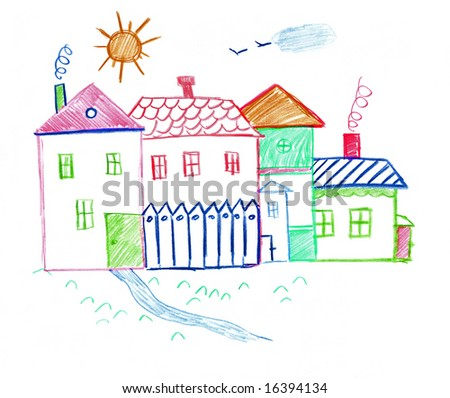 Child`s drawing of small houses