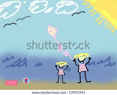 Child's drawing of two girls playing at the beach
