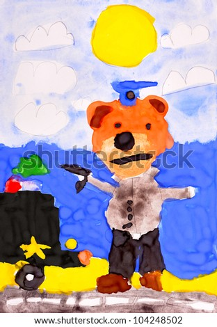 child's drawing.police dog and police car - stock photo