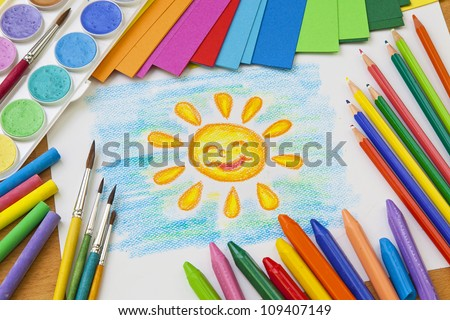 Child's drawing with colorful crayons - stock photo
