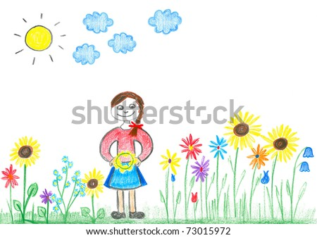 Child's drawing young girl with colorful flowers on meadow.