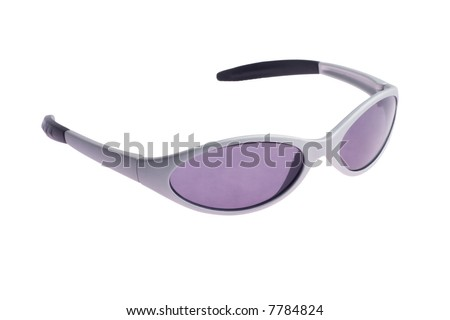child's grey sunglasses isolated on a white background