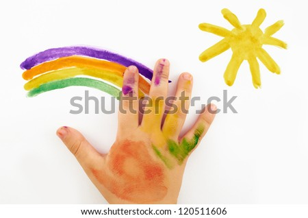 child's hand draws a picture on a white background