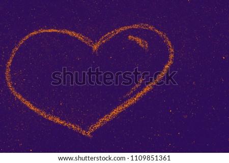 child's hand draws hearts, drawings chalk on asphalt #1109851361