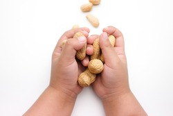 Child's hand holding Peanuts, isolated on a white background.