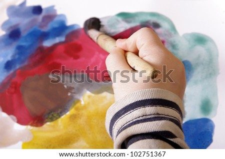 child's hand painting onthe papper