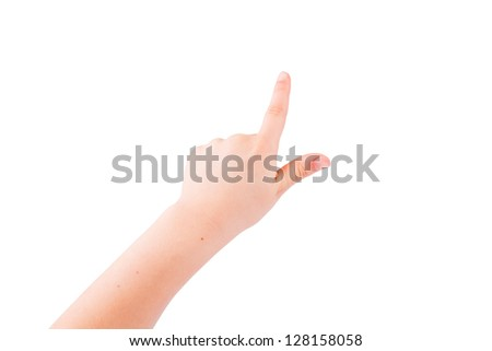Child's hand pointing out isolated on white