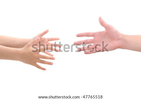 child's hands reaching for help