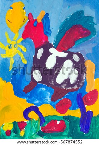 child s painting colorful horse using crayon and water color ez