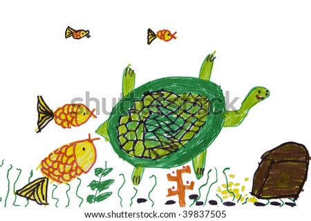 Child`s picture.  Turtle with fish in sea. Fair story