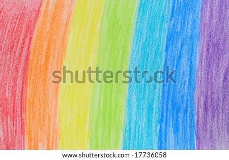 Child's rainbow crayon drawing. Hand-drawn.