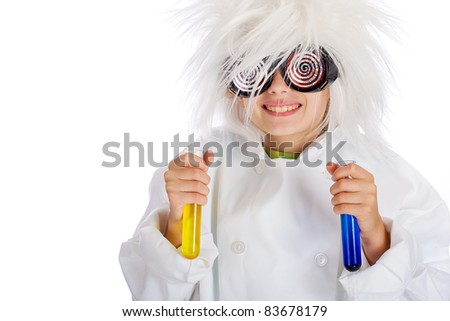 Child Scientist with crazy glasses and wild hair performing a science experiment with beakers filled colorful fluid.