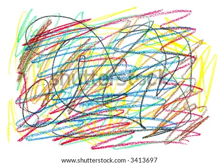 child scribble, drawn by crayon.