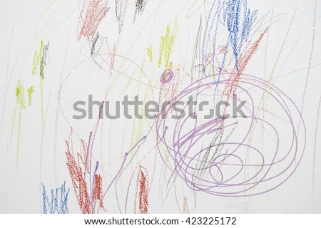 Child scribble on the wall/colored pencils scribbles on a white wall made by a little kid that could pass as abstract work.