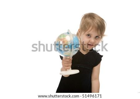 child shows a globe on white