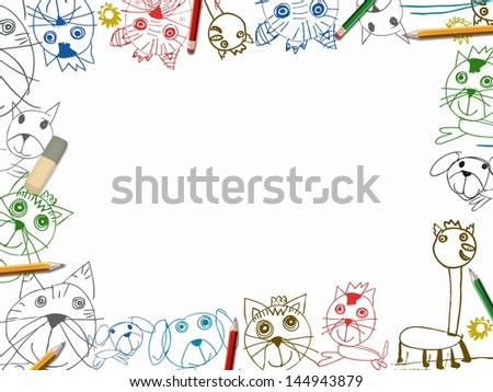 child sketchbook background with color pencils frame illustration isolated on white