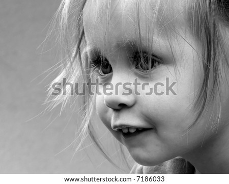 child, small, young, girl, eyes, mouth, hair, teeth, eye-lash, pretty, black, white, portrait, nose, lovely, model, smile, nice