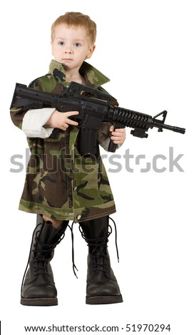Child Soldier Boy, Little Kid with Gun in Army Camouflage Military Boots, isolated over White background