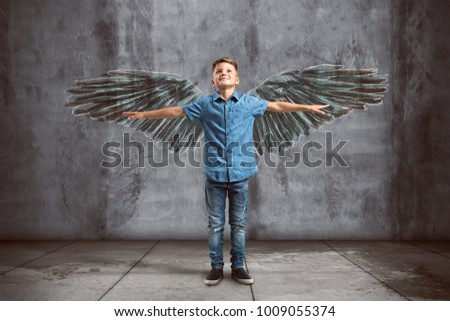 Child spreads its wings